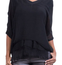 Gigi Moda V-Neck Kaftan Blouse (Black)