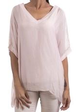 Gigi Moda V-Neck & Short Sleeve Silk Blouse (One Size)