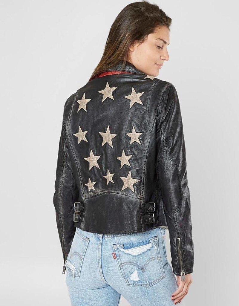 Mauritius Christy Vintage Black Star Leather Jacket