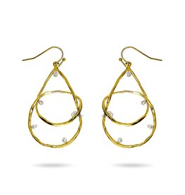 RUSH Worn Gold Teardrop w/Pearl Earring