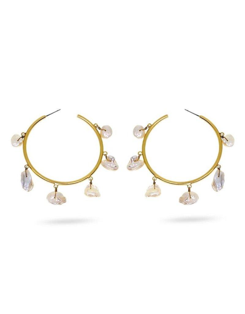 RUSH Pearl Gold Hoop Earring