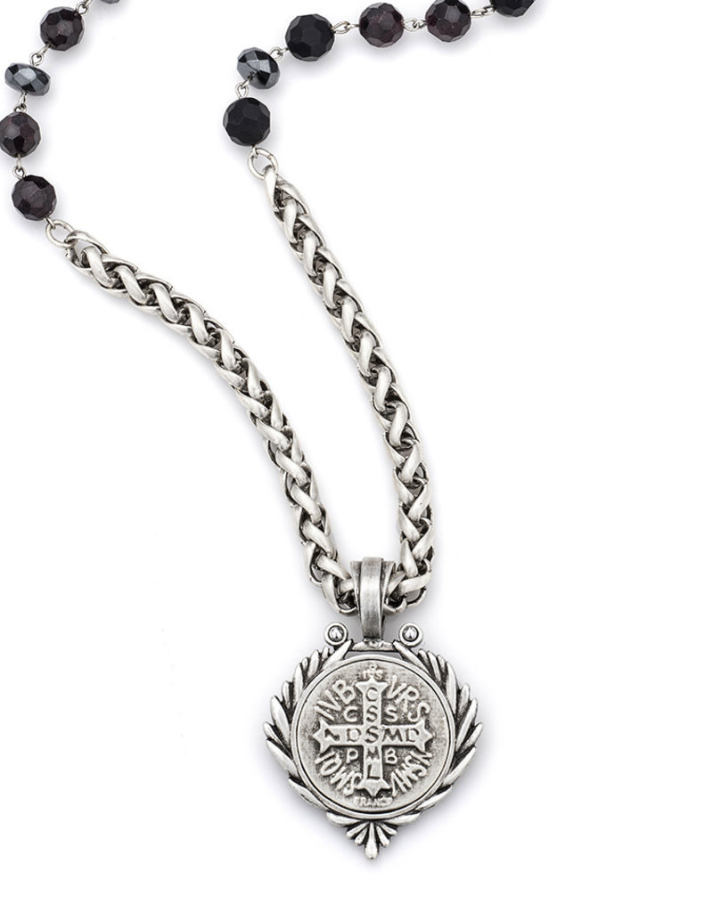 FRENCH KANDE NIGHT TIDE MIX WITH SILVER WIRE, CHEVAL CHAIN AND SAINT BENEDICT MEDALLION