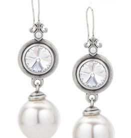 FRENCH KANDE Swarovski & White Pearl Earring