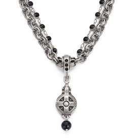 FRENCH KANDE Silver Provence Chain & Jet Chanel Set