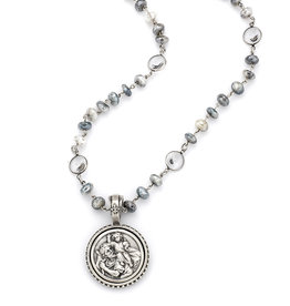 FRENCH KANDE Silverite & Swarovski Necklace With St. Christopher Medallion