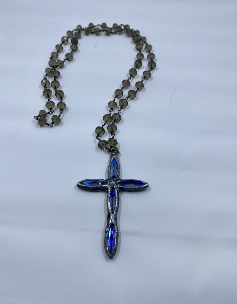 Funky Tulip Designs Hand Soldered Crystal Cross on Smoky Topaz Chain