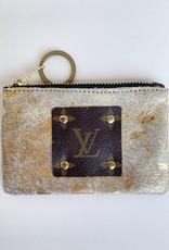 Magnolia Charm Vintage & Repurposed Coin Purse ( Gold Metallic)