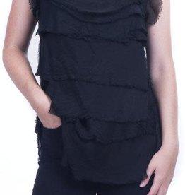 Gigi Moda Sleeveless Ruffle Top (One Size Black)