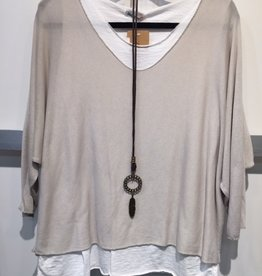 Catherine Lillywhites 2 Pc Tunic w/Necklace (Beige)  (One Size)