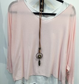 Catherine Lillywhites 2 Pc Tunic w/Necklace (Pink) O/S