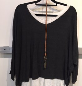 Catherine Lillywhites 2 Pc Tunic W/Necklace (Black)