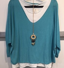 Catherine Lillywhites 2 Pc Tunic w/Necklace (Teal) O/S