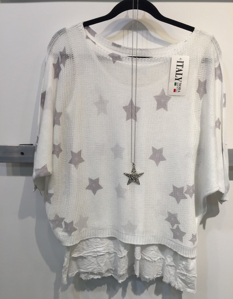 Catherine Lillywhites Silver Star Print Top (One Size)
