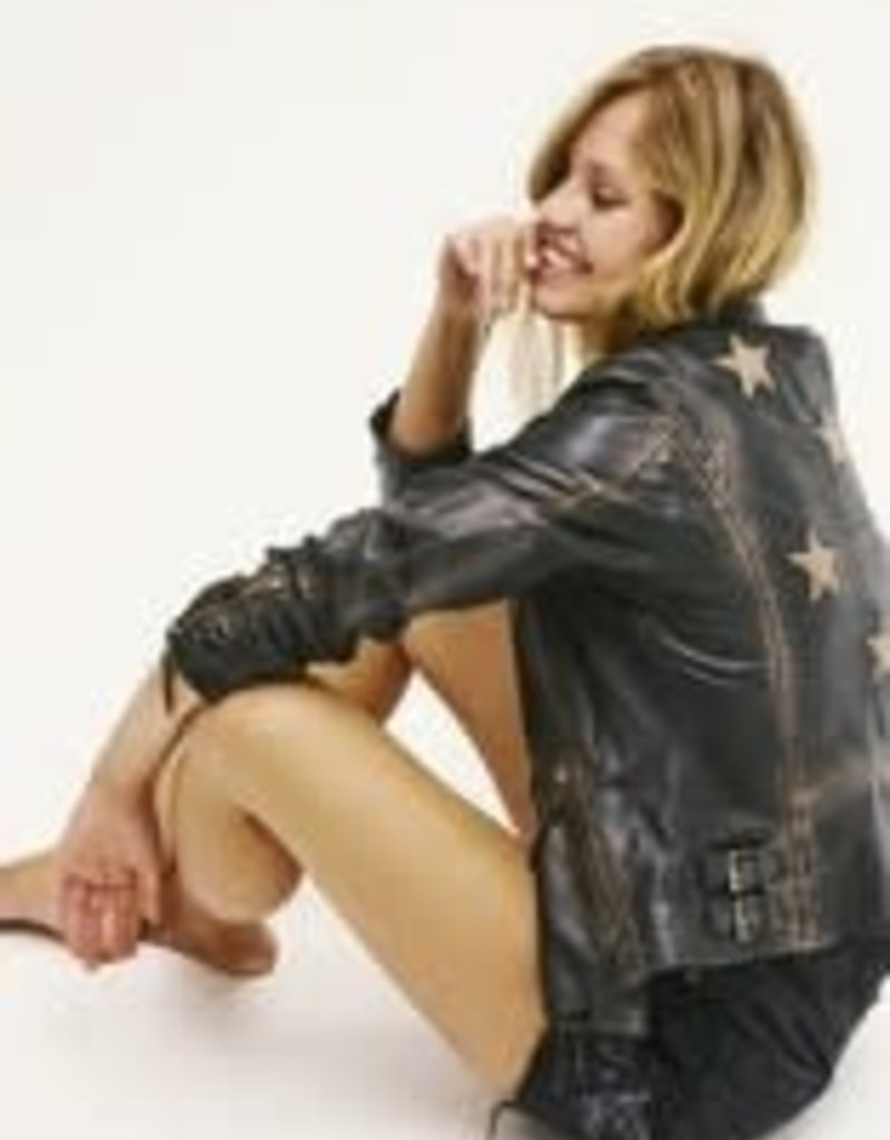 Mauritius Christy Vintage Black Star Leather Jacket