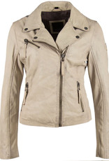 Mauritius Christy Vintage Off-White  Star Leather Jacket