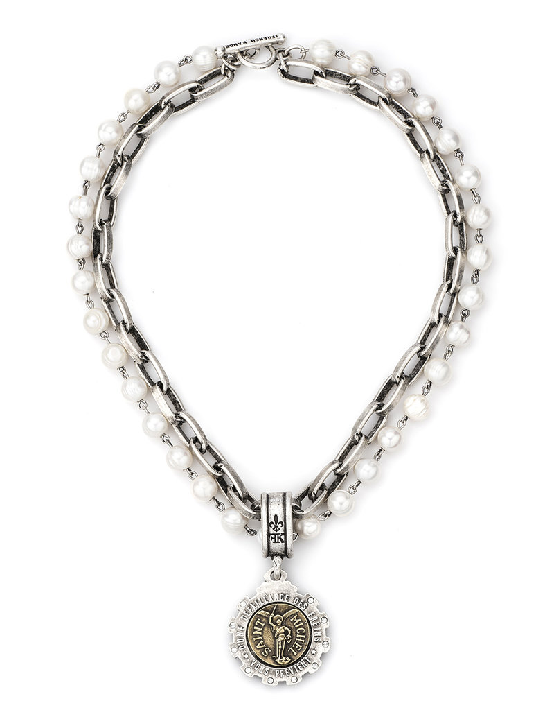 FRENCH KANDE DOUBLE STRANDED PEARLS AND LYON CHAIN WITH MINI SAINT MICHEL MEDALLION