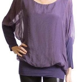 Gigi Moda Silk Blouse w/Bottom Band (Purple) (O/S)
