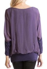 Gigi Moda Silk Blouse w/Bottom Band (Purple)