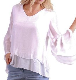Gigi Moda Bell Sleeve Front Layered Silk Top  (White) (O/S)
