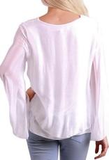 Gigi Moda Bell Sleeve Front Layered Silk Top  (White)
