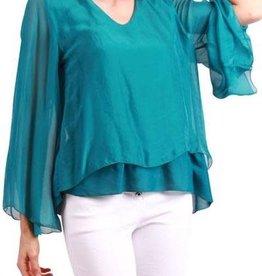 Gigi Moda Bell Sleeve Front Layered Silk Top (Teal)