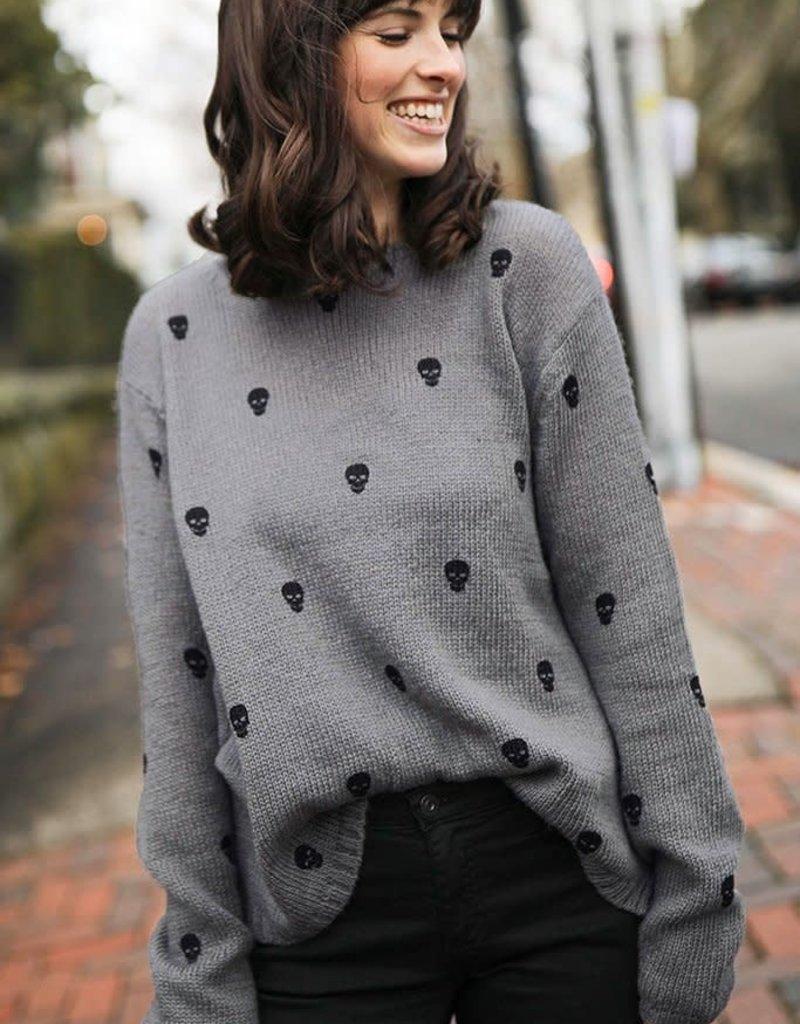 Wooden Ships Mini Skull Crew Sweater (Cement Black)