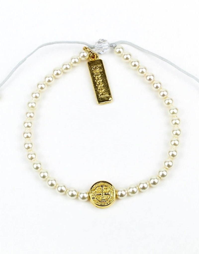 My Saint My Hero Birthday Blessing Bracelet (Gold /White Pearls)