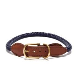 Adjustable Brass Rope Collar - Midnight Blue