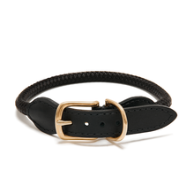 Adjustable Rope Collar - Black Leather