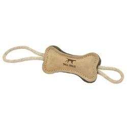"Natural Leather & Wool Bone Tug Toy - 16"""