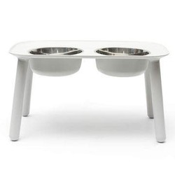 Copy of Messy Mutts Elevated Double Bowls Grey, Faux-Wood Legs