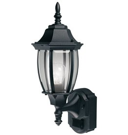 Heath Zenith 180 Degree Black Alexandria Lantern with Curved Beveled Glass