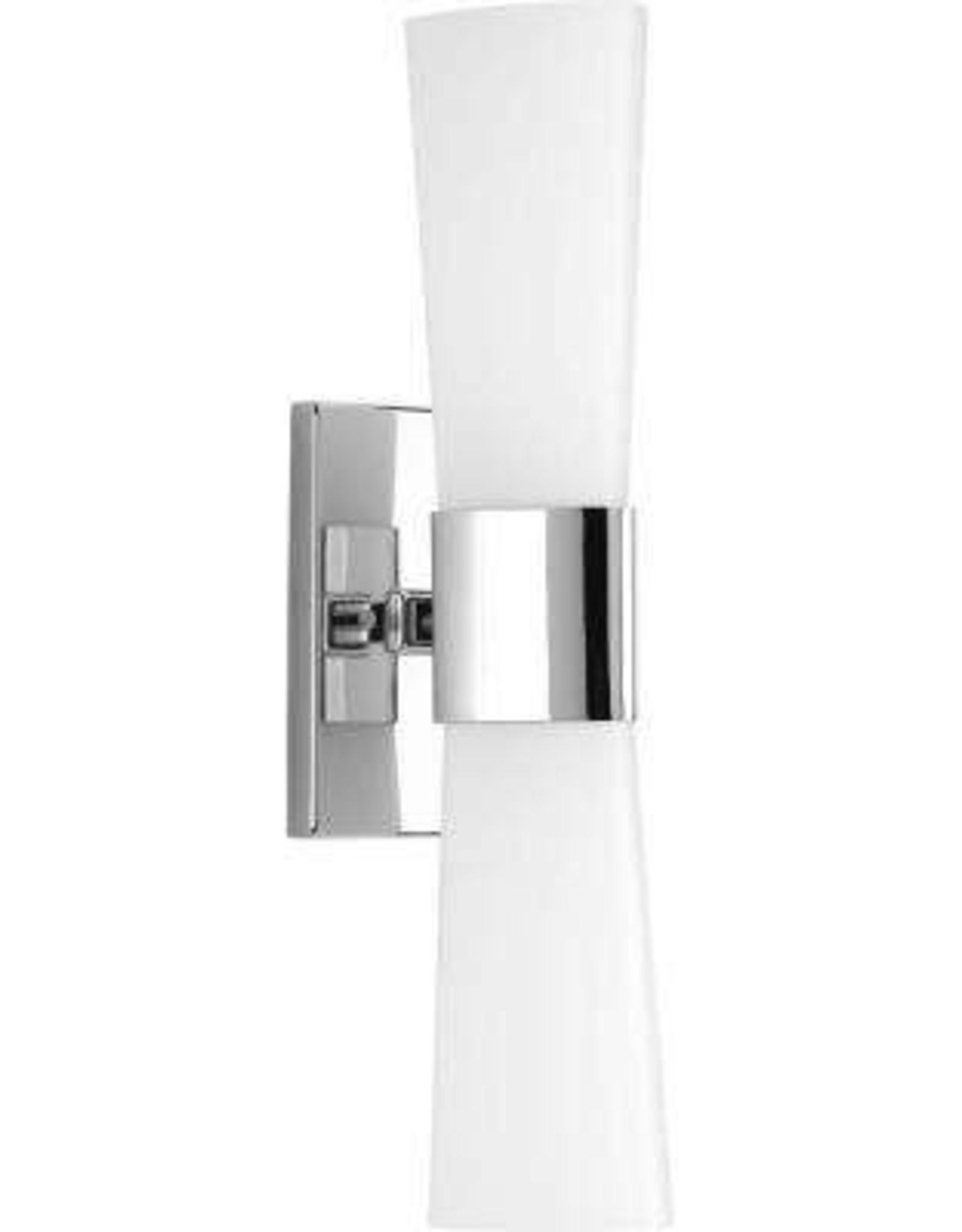 Progress Lighting Zura Collection 2-Light Polished Chrome Bathroom Vanity Light