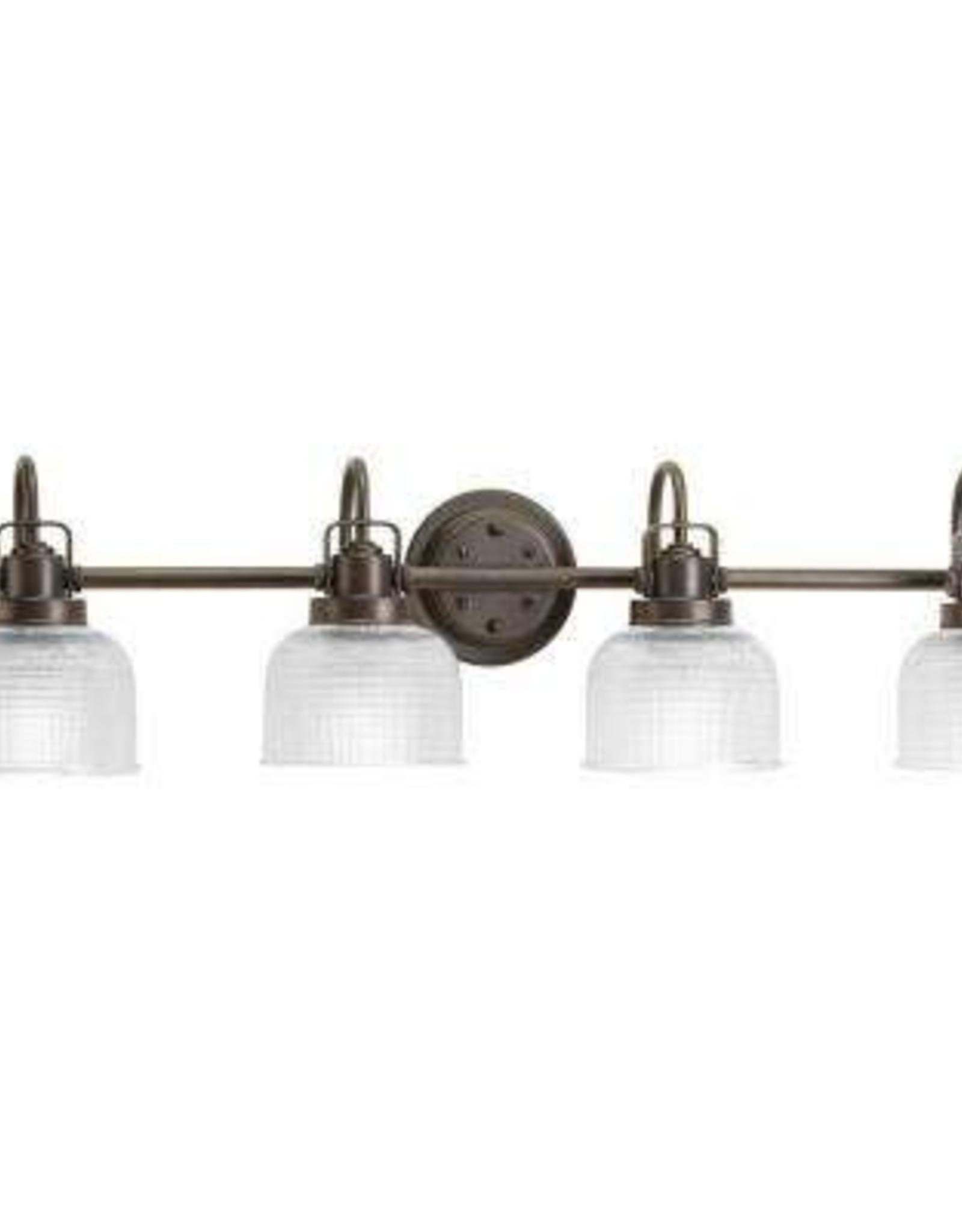 Progress Lighting Archie Collection 35.5 in. 4-Light Venetian Bronze Bathroom Vanity Light with Glass Shades