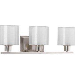 Progress Lighting Invite Collection 3-Light Brushed Nickel Bathroom Vanity Light