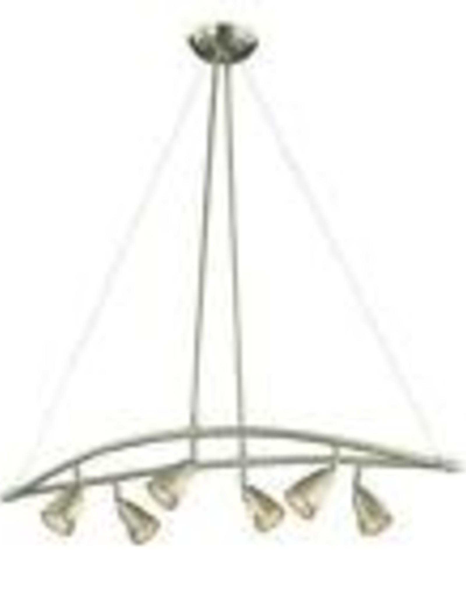Hampton Bay 6-Light Brushed Steel Chandelier with Multi-Directional Spotlights