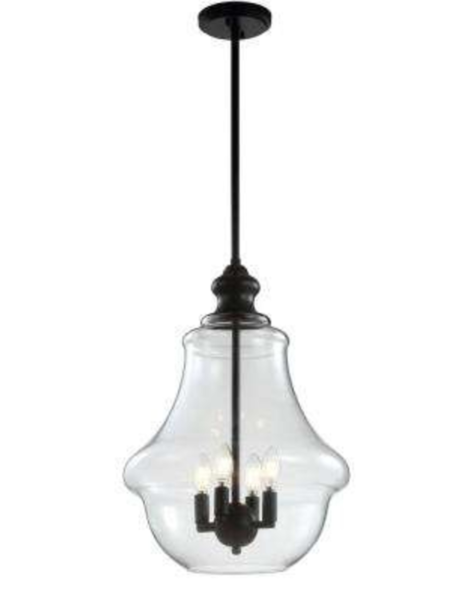 JONATHAN Y Adam 16 in. 4-Light Oil Rubbed Bronze Adjustable Metal/Glass LED Pendant