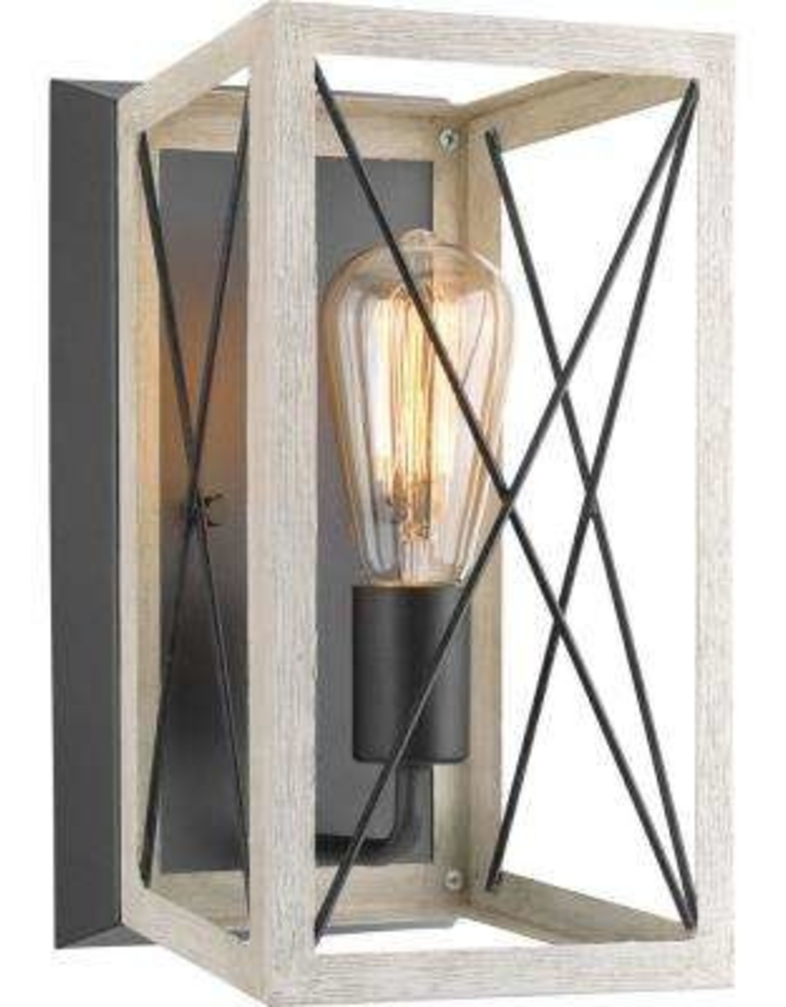 Progress Lighting Briarwood 6.88 in. 1-Light Graphite Wall Sconce