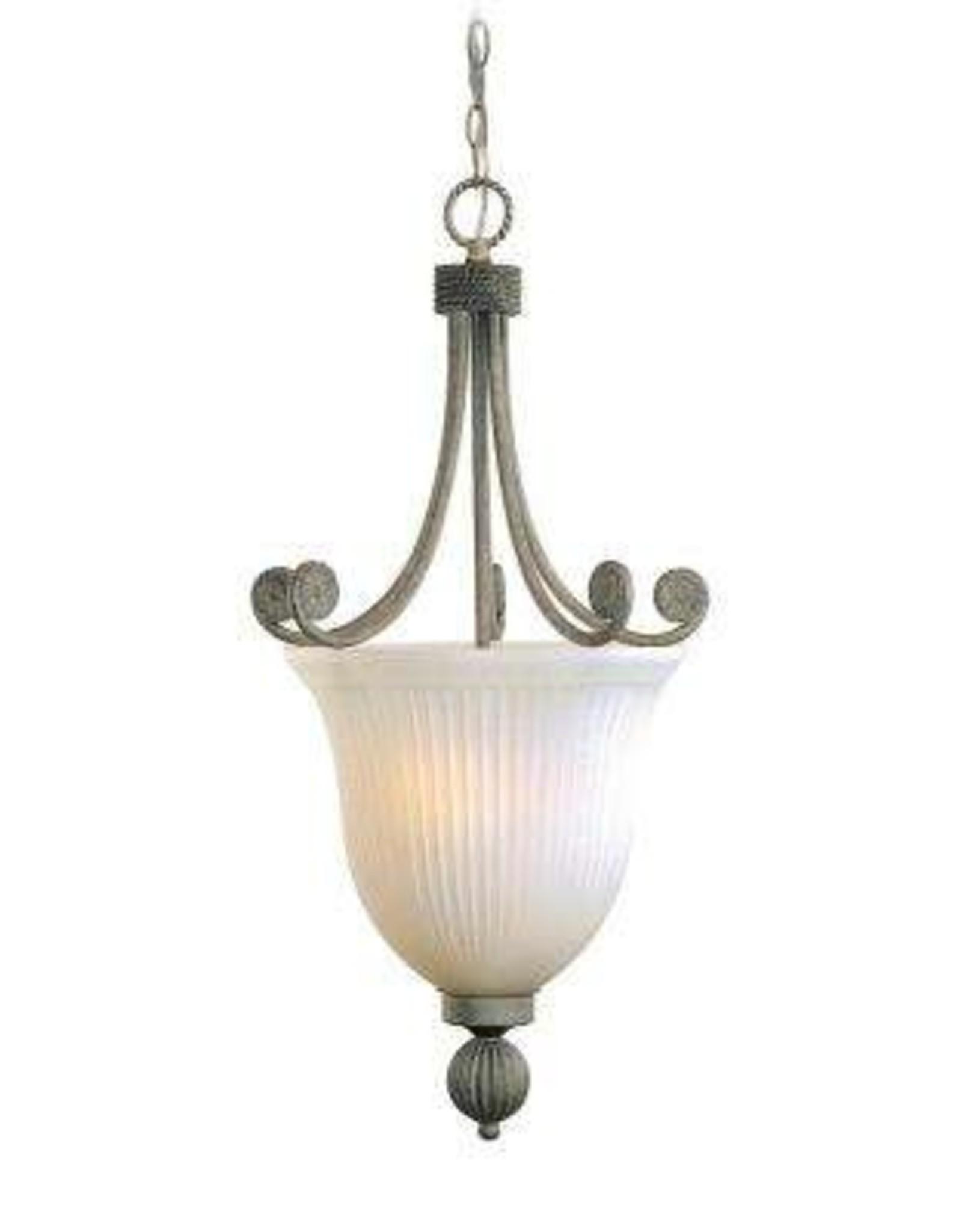 Volume Lighting Kyoto 3-Light Interior/Indoor Platinum Rust Hanging Pendant with White Ribbed Cased Glass Bowl