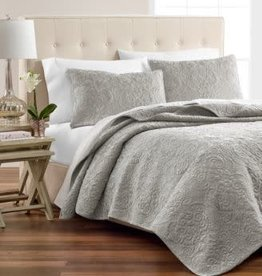 Martha Stewart Velvet Flourish Quilt Cotton Full/Queen Gray