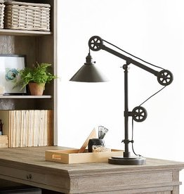 TMI LLC Pulley Metal Task Table Lamp, Rustic Iron Finish