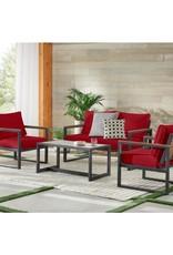 West Park Black Aluminum Outdoor Patio Loveseat with CushionGuard