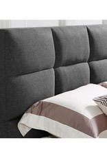 Joey Dark Grey Full Upholstered Head and Footboard Euro Slats Bed