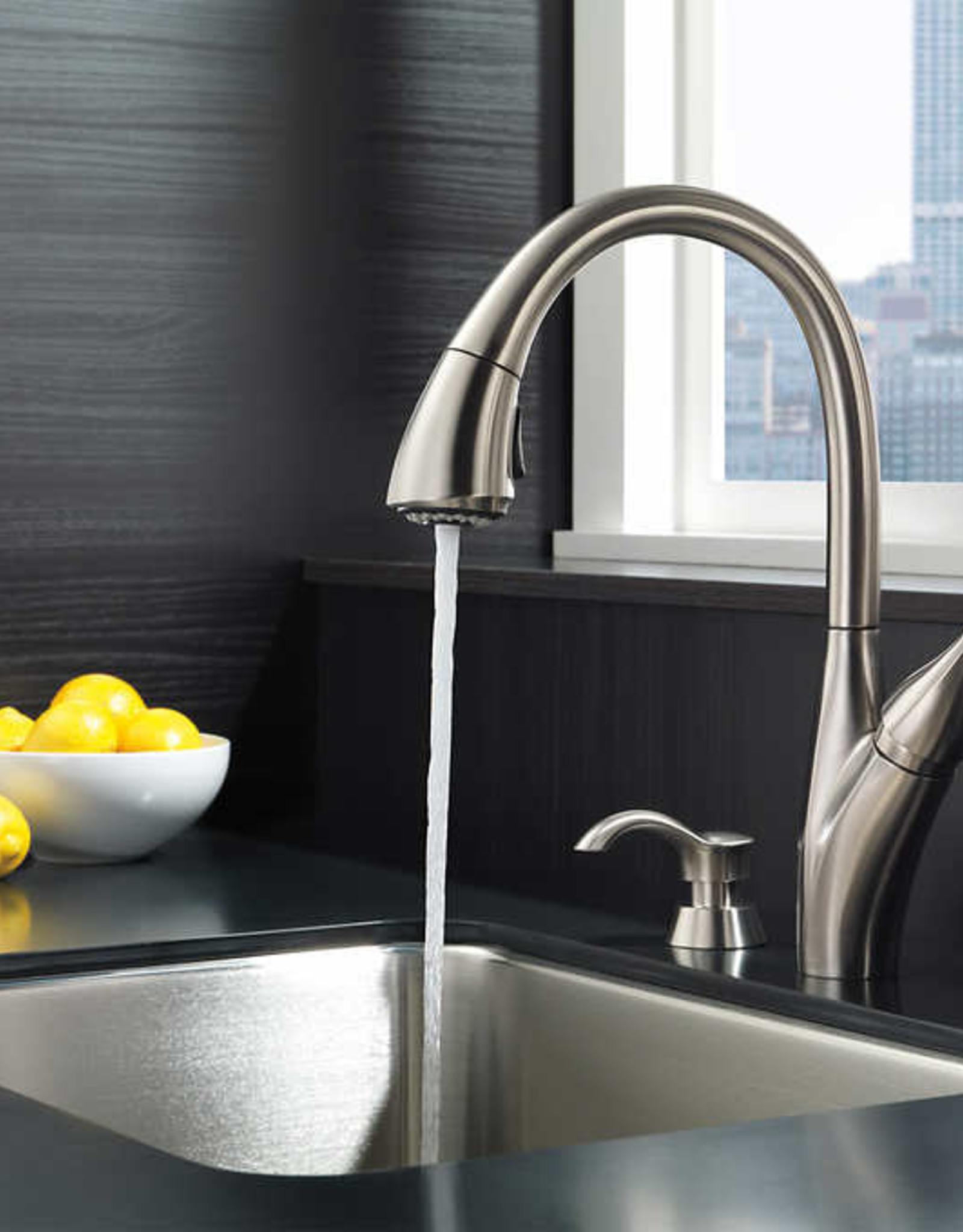 DELTA FAUCET COMPANY Delta Berkley Pulldown Kitchen Faucet and Soap Dispenser