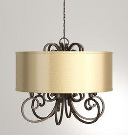 World Imports Rue Maison 6-Light Iron and Euro Bronze Chandelier with Beige Drum Shade