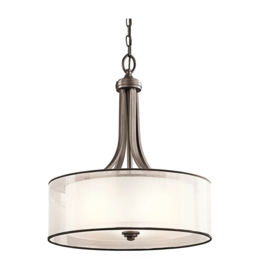"""Kichler Kichler Lacey 4 Light 20"""" Wide Pendant with Organza Shade and  Diffuser"""