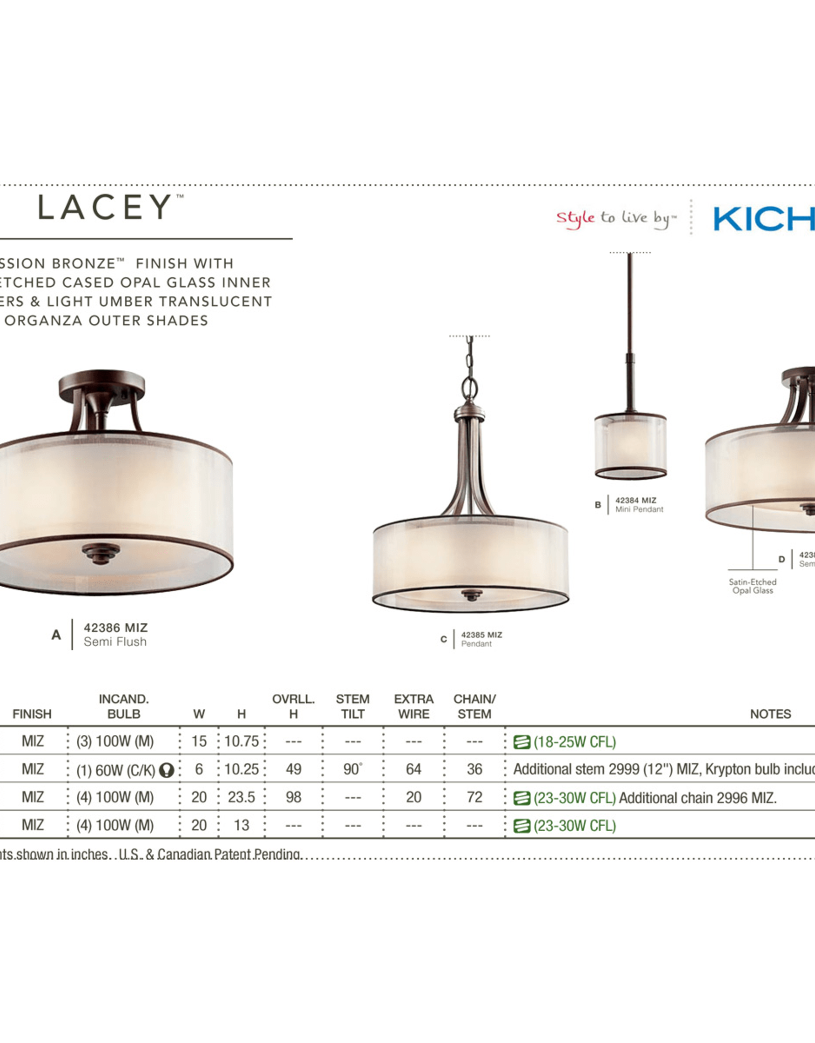 "Kichler Kichler Lacey 4 Light 20"" Wide Pendant with Organza Shade and  Diffuser"