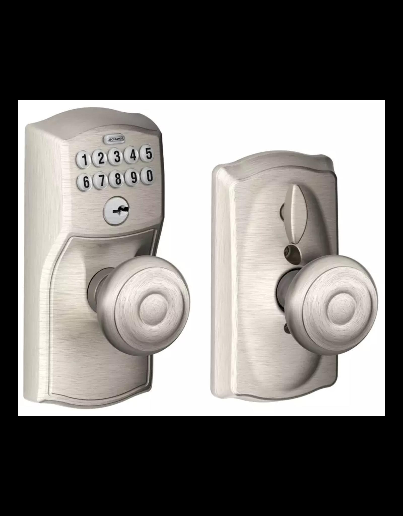 Schlage Schlage Camelot Keypad Entry with Flex-Lock Door Knob Set  with Georgian Interior Knob