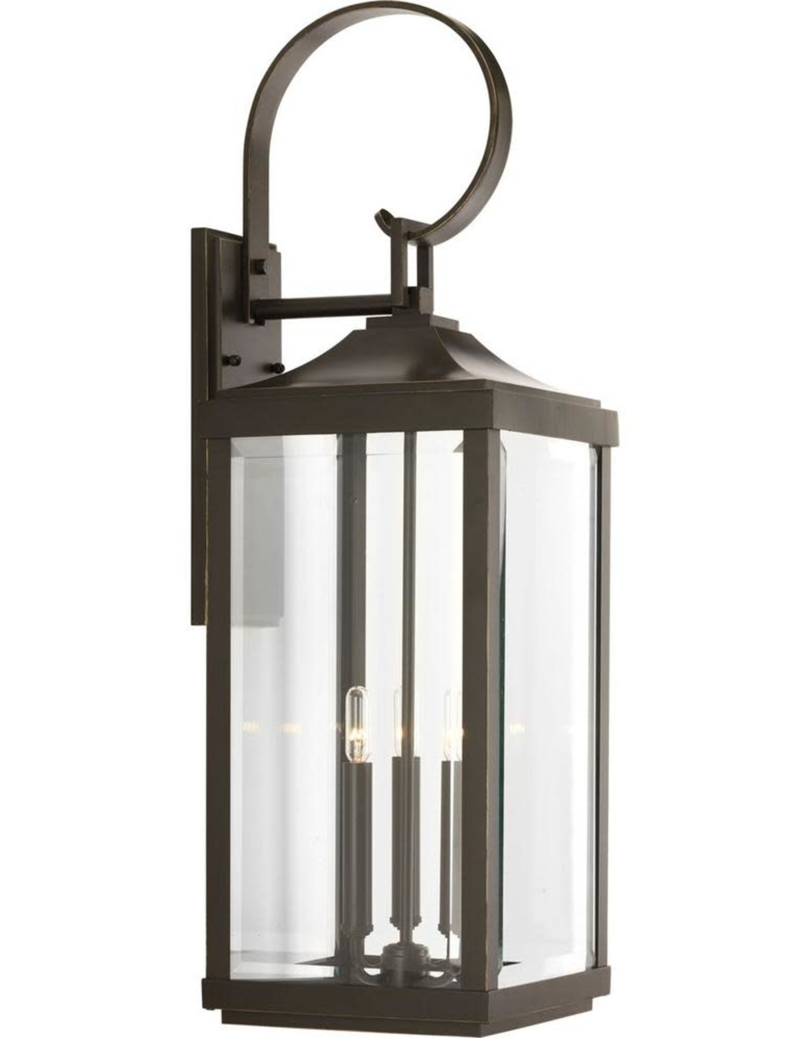Gibbes Street Collection 3-Light Antique Bronze 30.6 in. Outdoor Wall Lantern Sconce