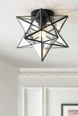 JONATHAN Y Stella 9.75 in. 1-Light Oil Rubbed Bronze Moravian Star Metal/Glass LED Pendant